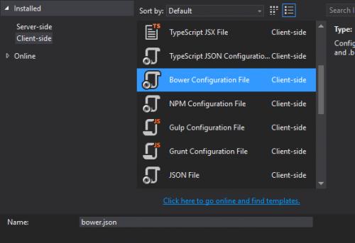 screenshot: Adding Bower configuration file